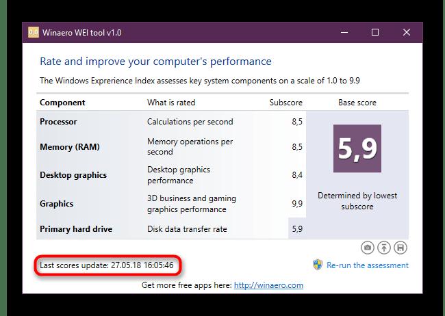 Дата последнего тестирования компьютера на производительность в Winaero WEI Tool