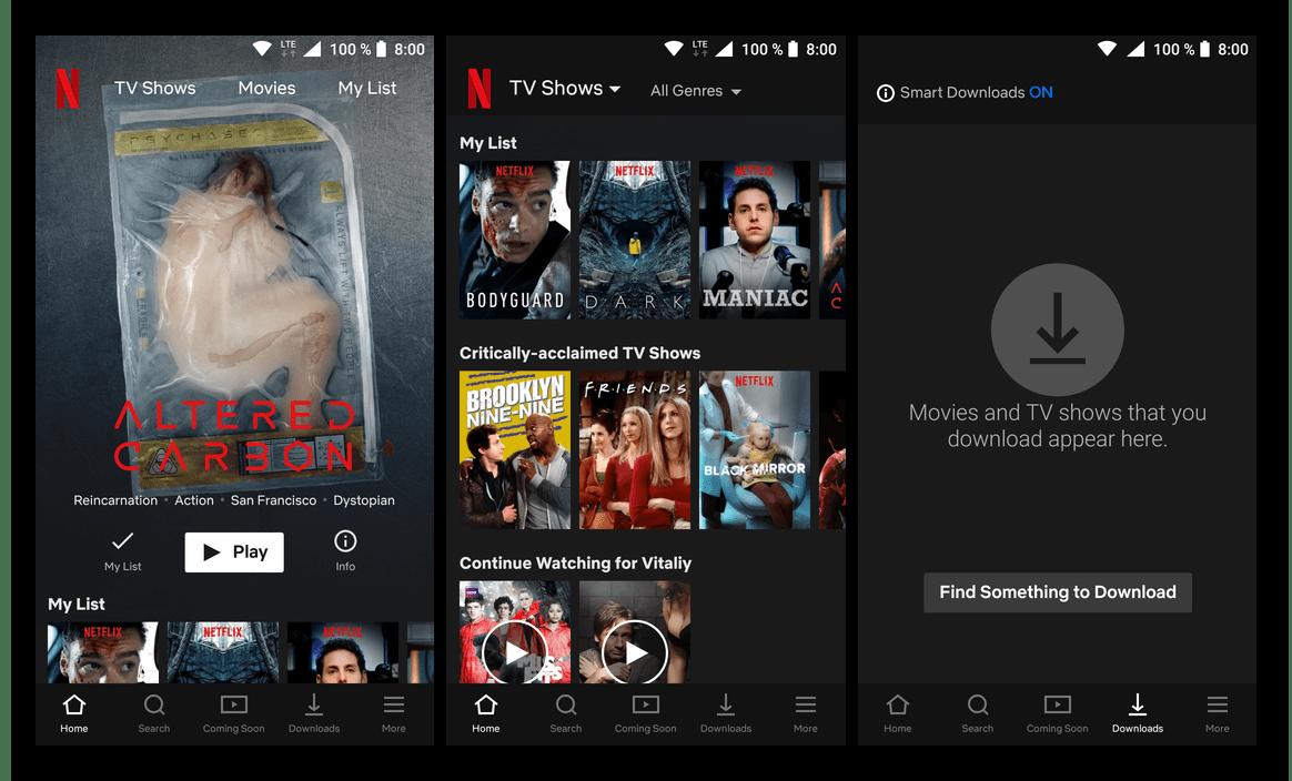Интерфейс приложения для просмотра сериалов Netflix для Android