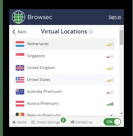 Изменение страны в расширении Browsec в Google Chrome