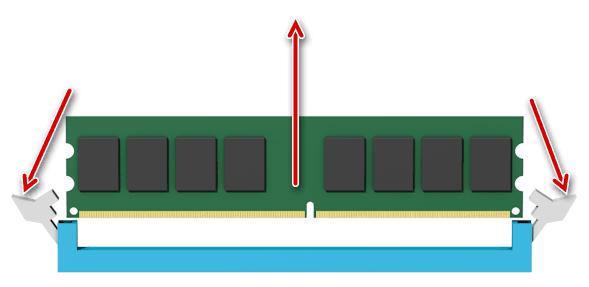 Извлечение оперативной памяти из компьютера