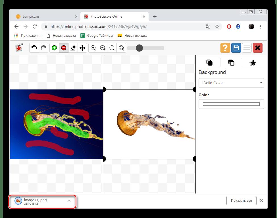 Открыть скачанное изображение с сайта PhotoScrissors