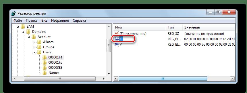 Открытие редактора значения двоичного параметра F в разделе 000001F4 в окне редактора системного реестра в Windows 7