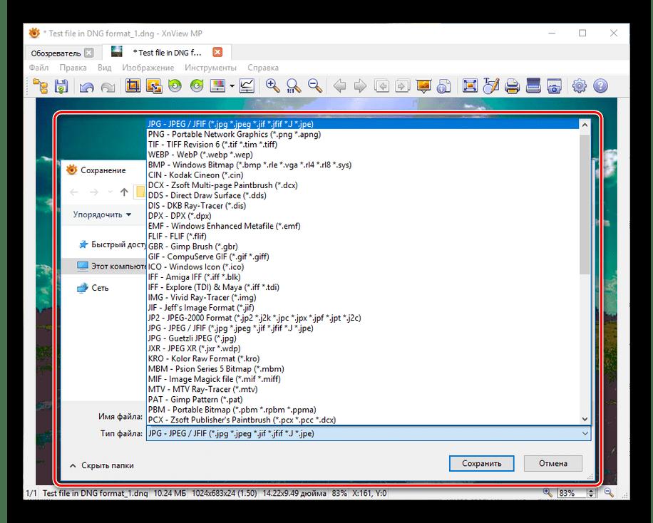 Отсутствие возможности сохранения DNG файла в XnView