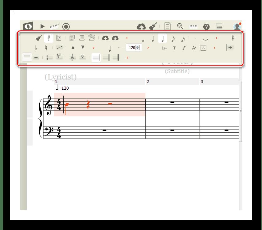 Панель инструментов для расстановки нотных знаков на сайте веб-сервиса NoteFlight