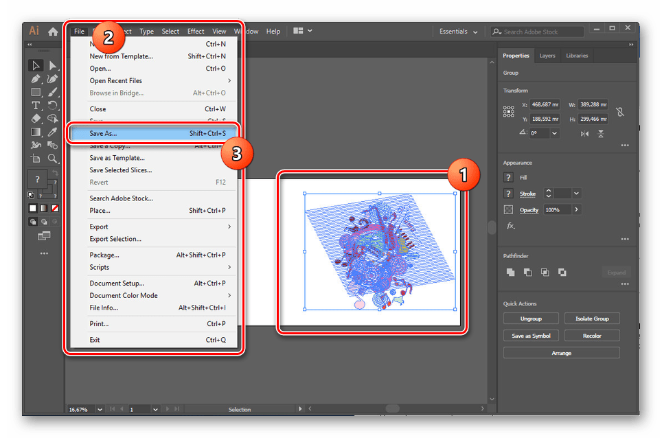Переход к сохранению AI в Adobe Illustrator