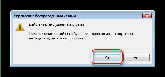 Подтвердить удаление профиля wi-fi на Windows 7