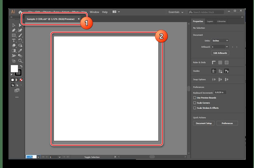 Пример неправильной загрузки CDR в Adobe Illustrator