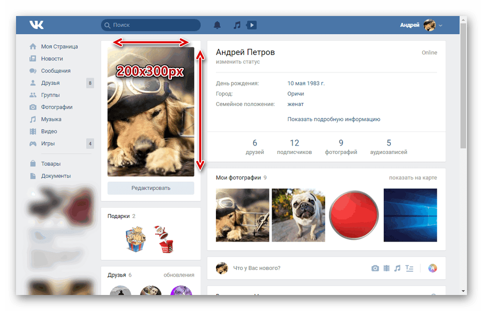 Пример вертикальной аватарки профиля ВКонтакте