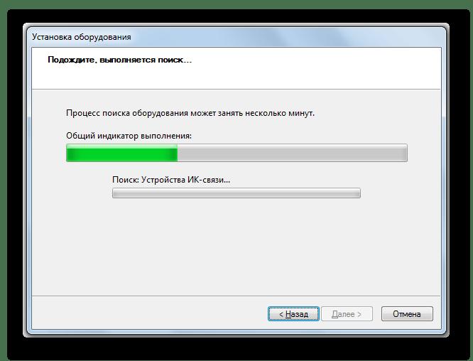 Процедура автоматическго поиска и установки устройства в окне Мастера установки оборудования в Windows 7