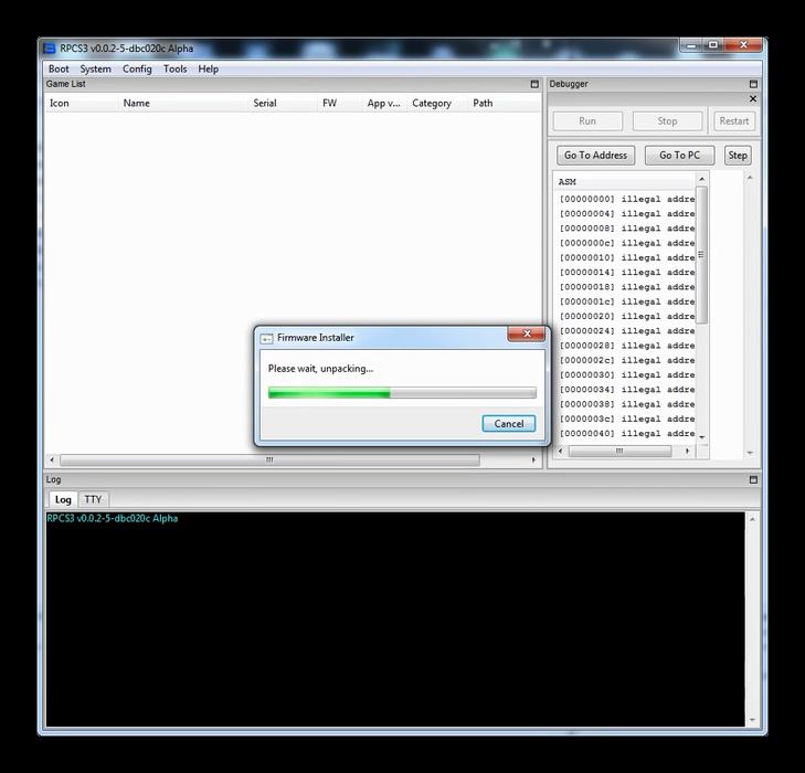 Процесс установки прошивки в эмулятор PS3 для Windows 7