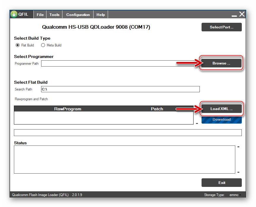 Qualcomm Flash Image Loader (QFIL) элементы управления в интерфейсе для загрузки прошивки в приложение