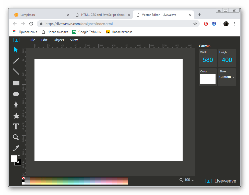Работа в векторном редакторе на сервисе LiveWeave