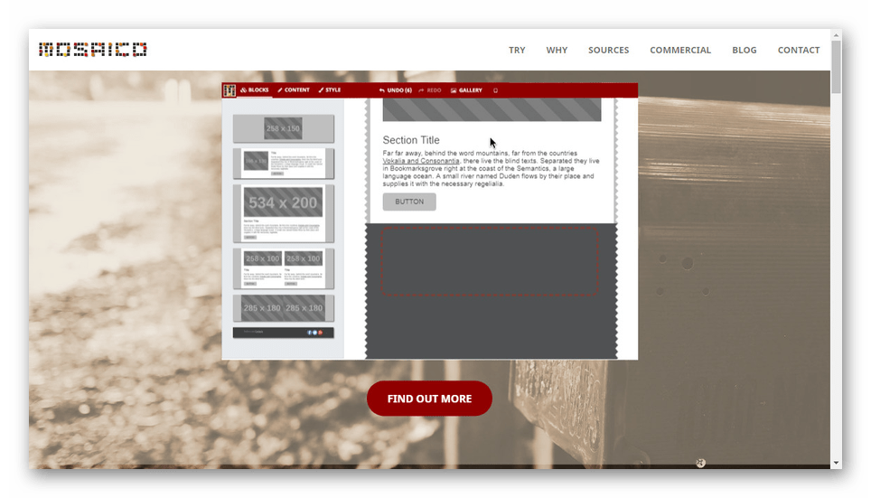 Стартовая страница конструктора писем Mosaico