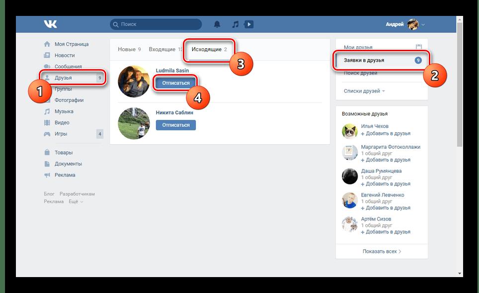 Возможность отписки от людей на сайте ВКонтакте
