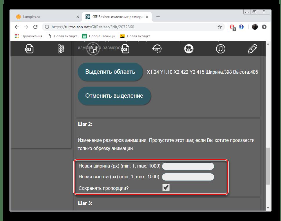 Вручную задать ширину и высоту изображения на сервисе ToolSon