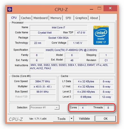 Ядра и потоки процессора в программе CPU-Z