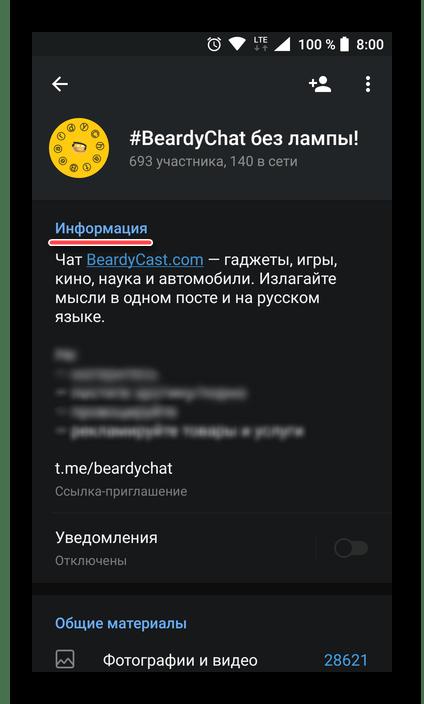 Блок с информацией о профиле в мессенджере Telegram для Android