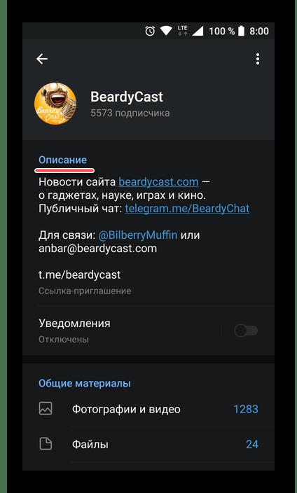 Блок с описанием о профиле в мессенджере Telegram для Android