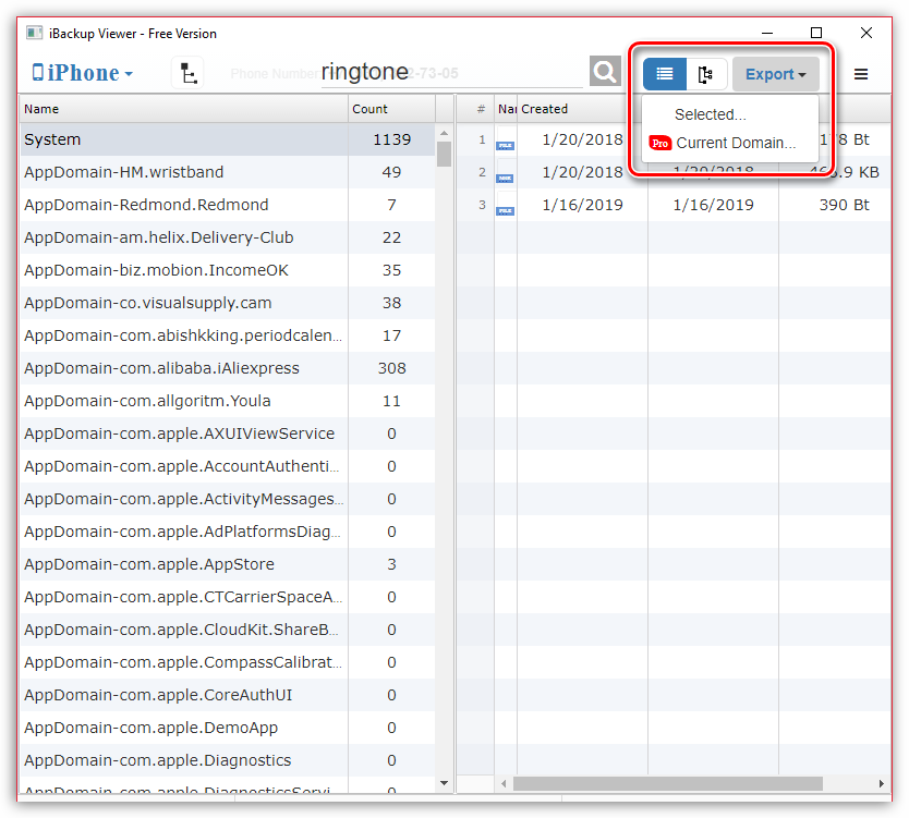 Экспорт рингтонов на компьютер из программы iBackup Viewer