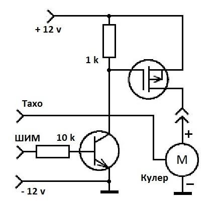 Электрическая схема 4-Pin кулера