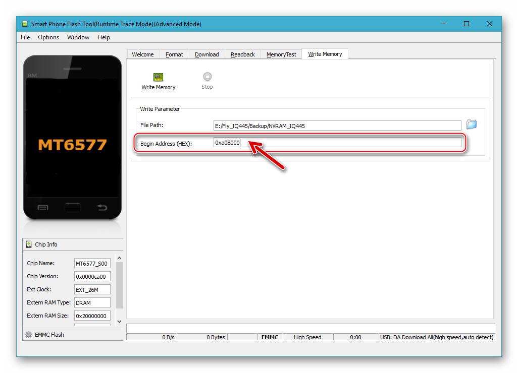 Fly IQ445 SP Flash Tool Внесение значения в поле Begin Address (HEX) для восстановления NVRAM из бэкапа