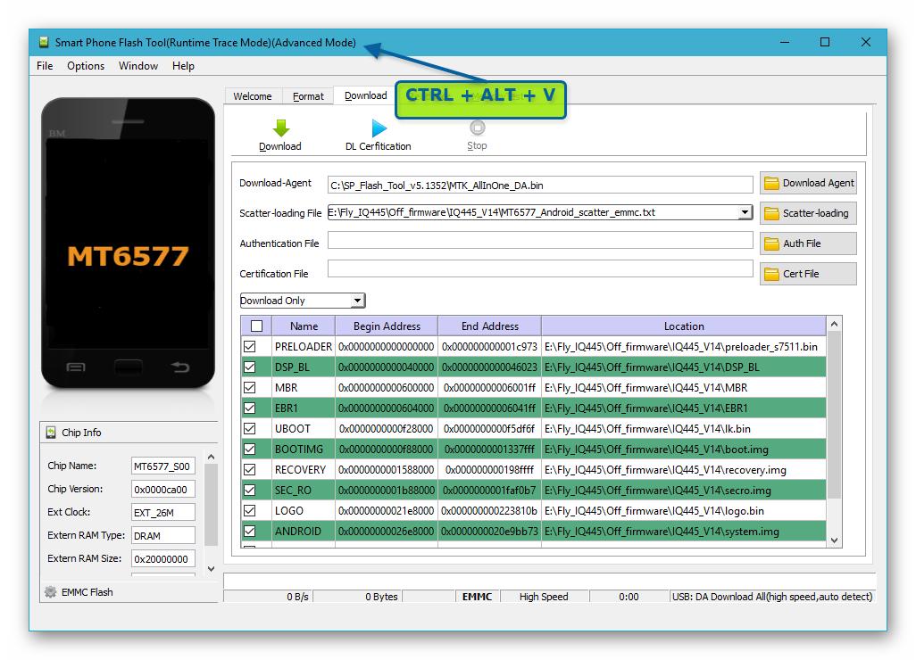 Fly IQ445 SP Flash Tool активация профессионального режима работы приложения для восстановления NVRAM из бэкапа