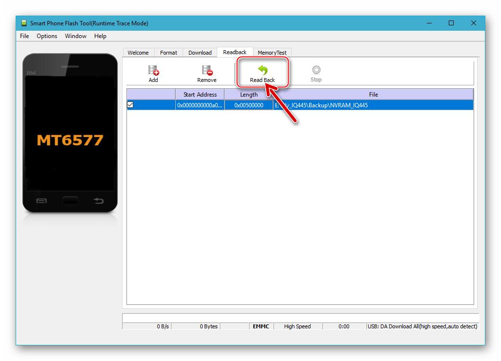 Fly IQ445 SP Flash Tool начало вычитки данных из памяти аппарата при создании бэкапа - кнопка Read Back