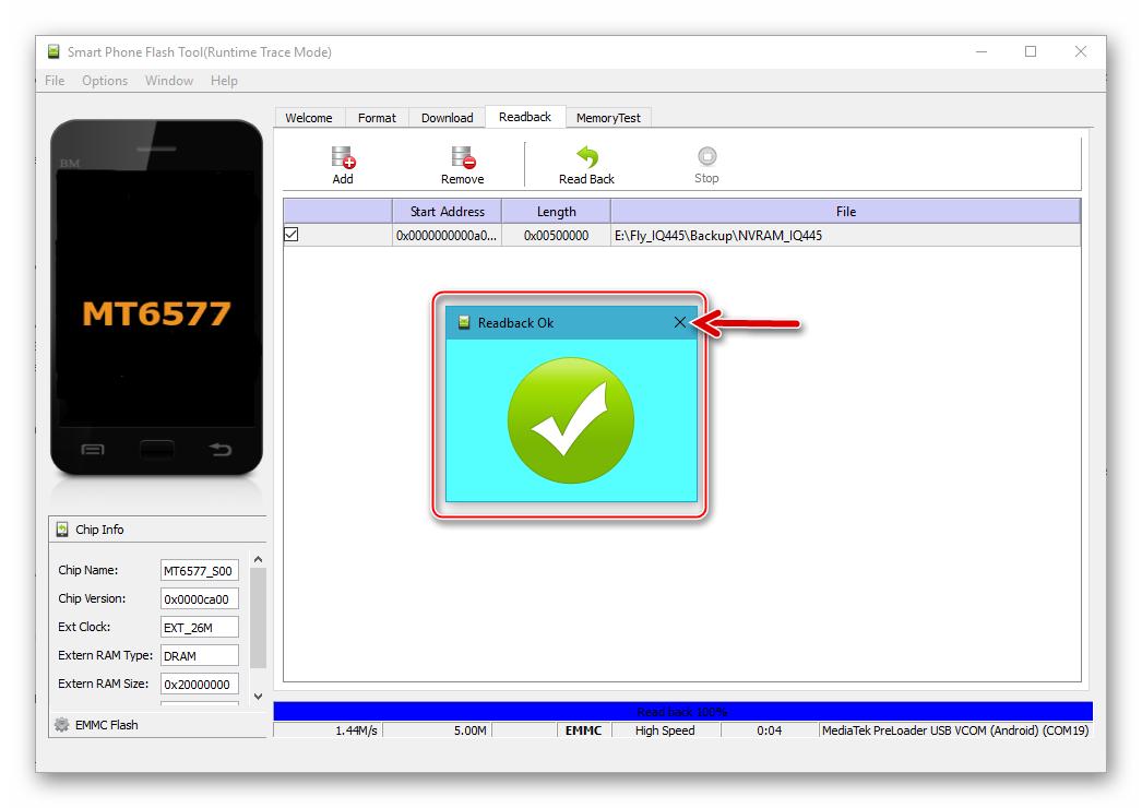 Fly IQ445 SP Flash Tool вычитка данных из области NVRAM и создание бэкапа завершены