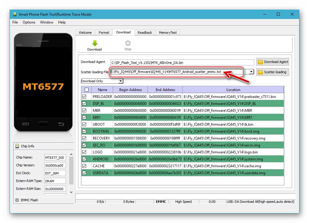 Fly IQ445 Восстановление бэкапа NVRAM через программу SP Flash Tool - запуск программы, добавление скаттер-файла