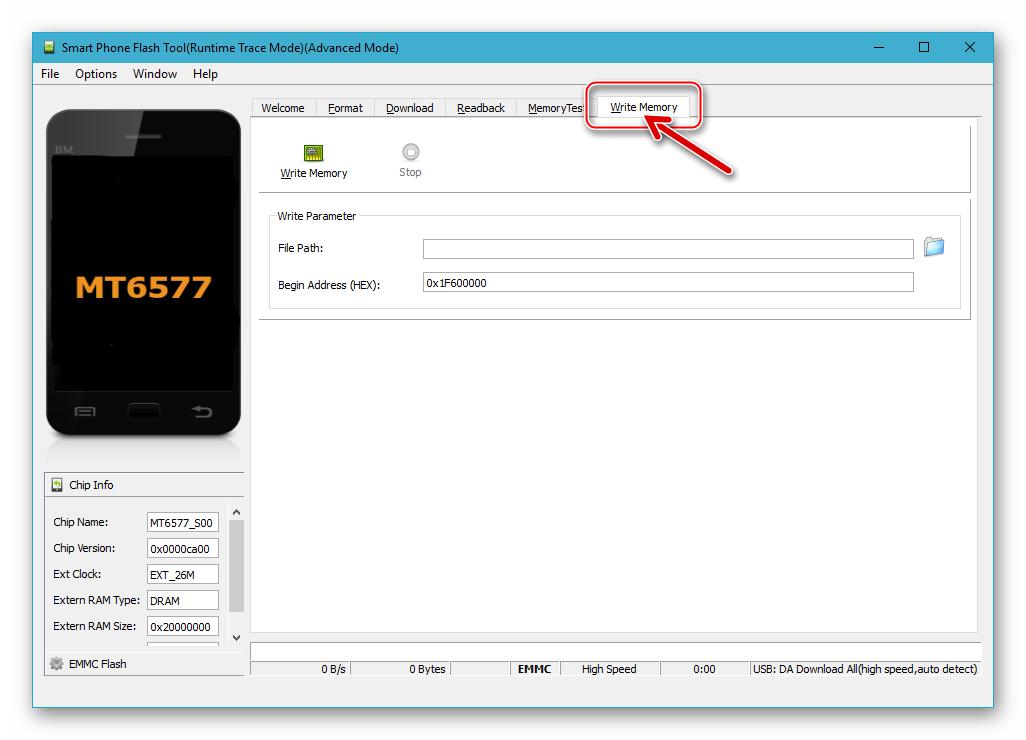 Fly IQ445 Восстановление бэкапа NVRAM - вкладка Write Memory в SP Flash Tool