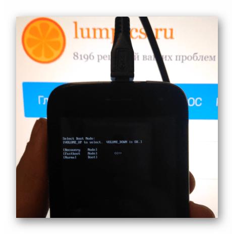 Fly IQ445 переключение смартфона в режим Fastboot
