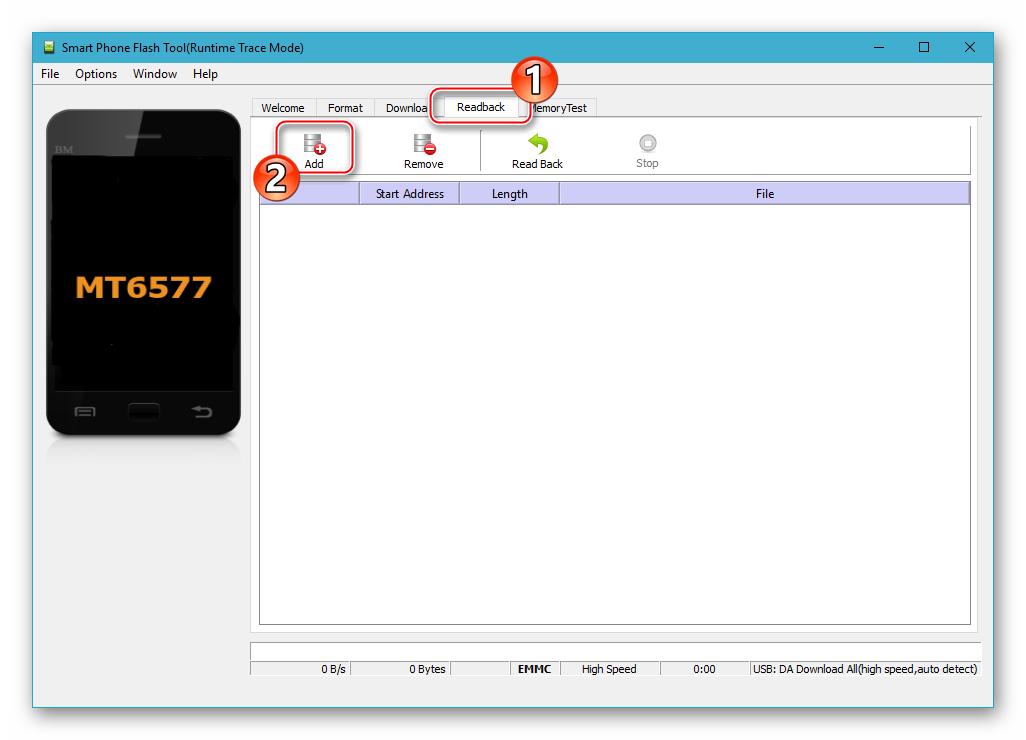 Fly IQ445 вкладка Readback в SP Flash Tool для создания бэкапа NVRAM