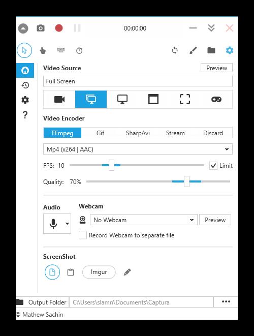 Главное окно программы Captura для записи видео с экрана в Windows 10