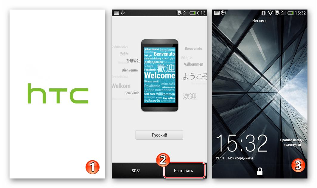 HTC Desire 601 Запуск и настройка официального Android 4.2 после прошивки через TWRP