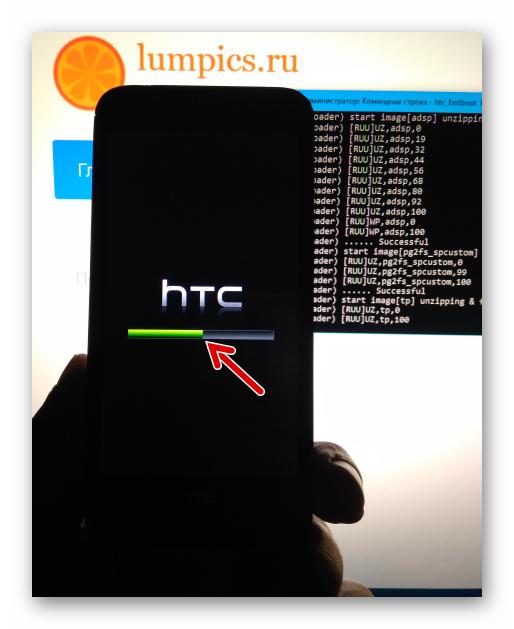 HTC Desire 601 индикатор выполнения на экране девайсе в процессе прошивки через Fastboot