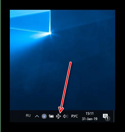 Индикатор активности режима в самолёте на Windows 10