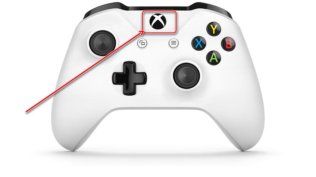 Нажать кнопку включения геймпада от Xbox One для подключения его к компьютеру