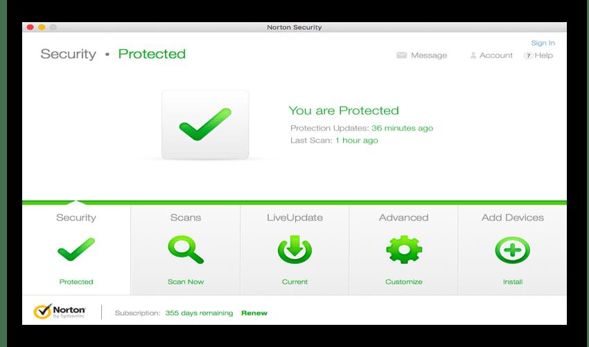 Norton Security для операционной системы MacOS