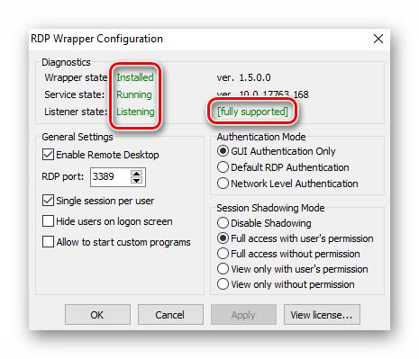 Окно проверки установленной утилиты RDP в Windows 10