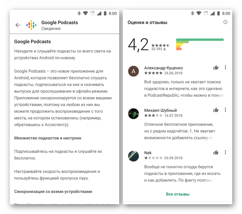 Описание и пользовательский рейтинг приложения в Google Play Маркете на Android