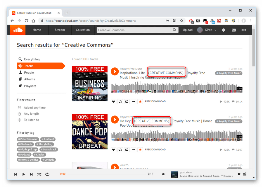 Пометка Creative Commons на сайте SoundCloud