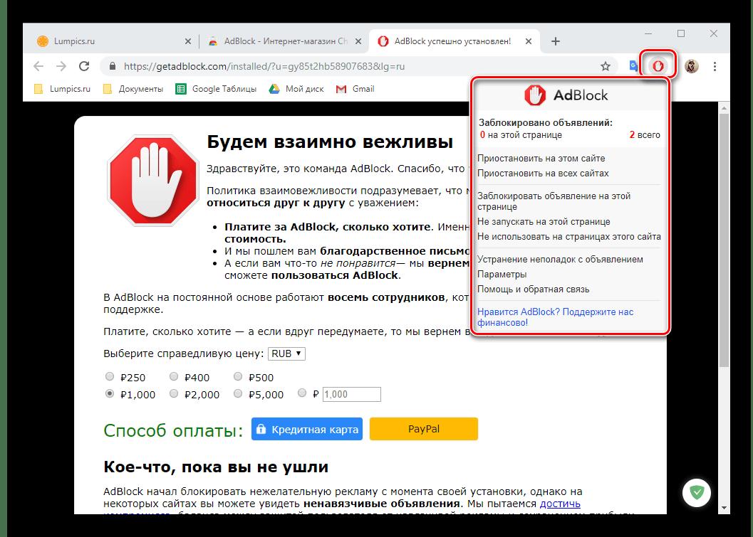 Просмотр после установки меню расширения AdBlock для браузера Google Chrome