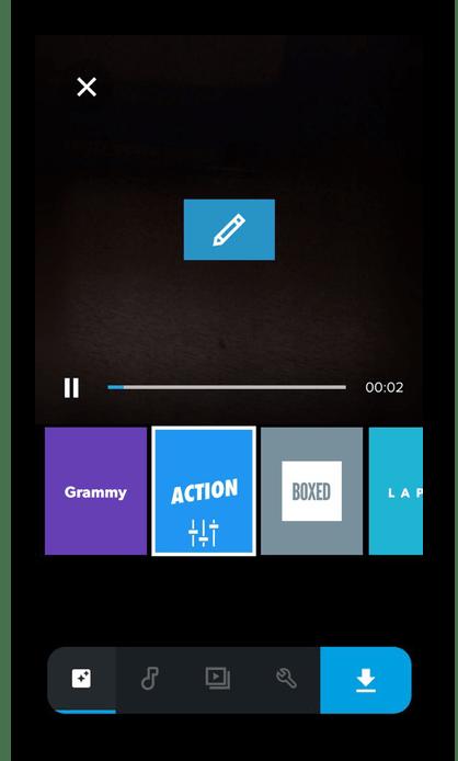 Процесс редактирования видео в программе Quik на iPhone