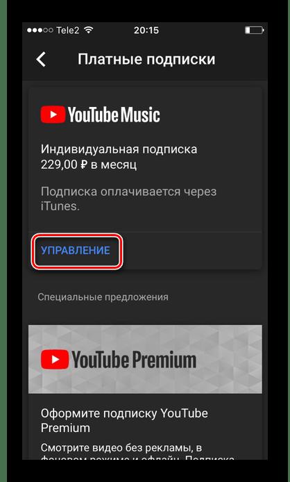 Раздел YouTube Music в настройках приложения на iPhone