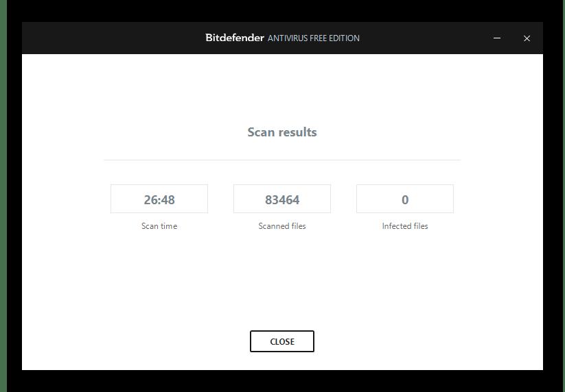 Результаты сканирования в Bitdefender Antivirus Free Edition