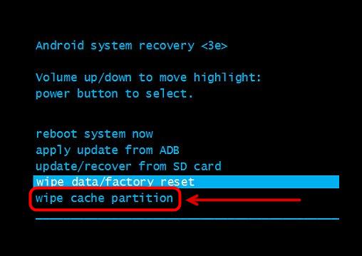 Сброс кэша командой Wipe cache partition в меню Recovery на Android