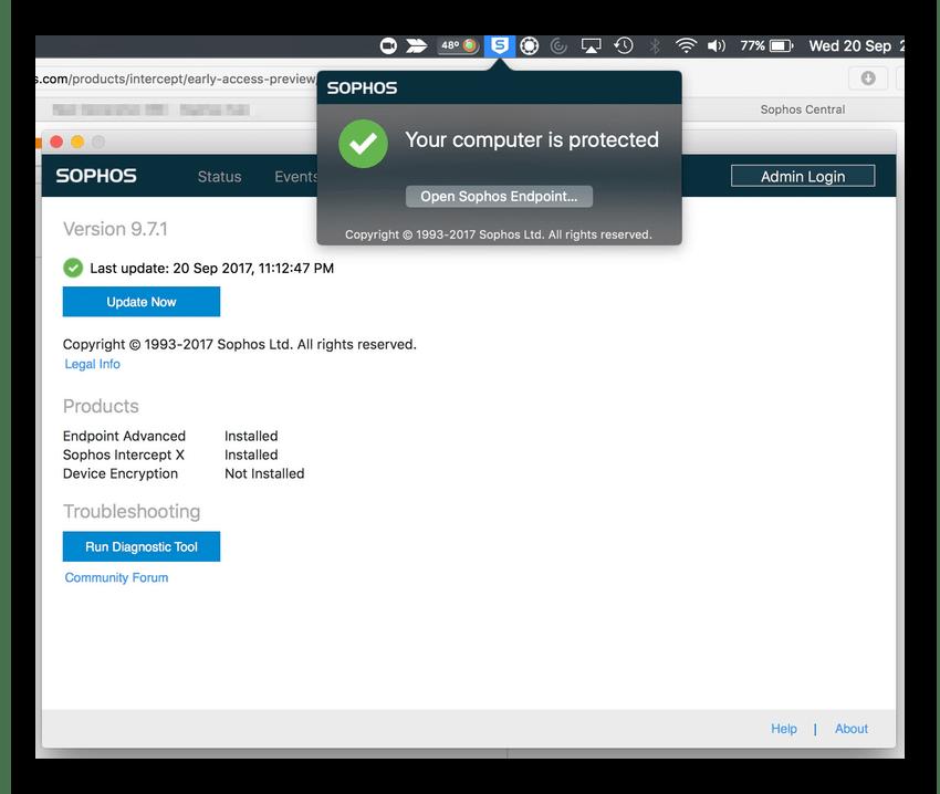 Sophos Antivirus для операционной системы MacOS