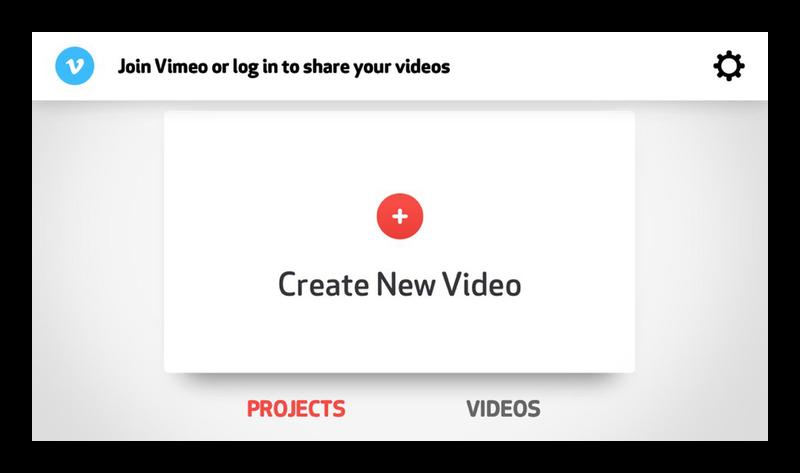 Стартовый экран приложения для монтажа видео Cameo на iPhone
