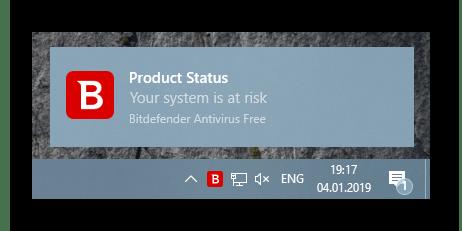 Уведомление о защите компьютера в Bitdefender Antivirus Free Edition