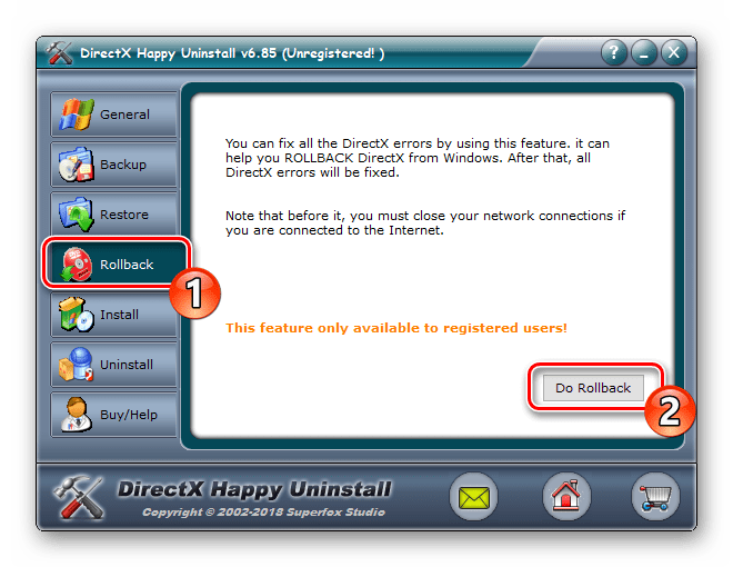 Восстановить компоненты через DirectX Happy Uninstall